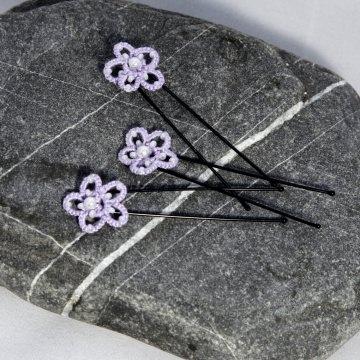 3 er Set Haarnadeln:  fliederfarbene Haarsterne aus Baumwolle mit weißen Perlen, U Pin schwarz Manufaktur Lienshöft