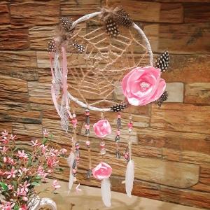 Traumfänger Dreamcatcher Federtraum mit vielen Perlen Bohostyle - Handarbeit kaufen