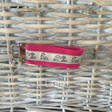 Schlüsselanhänger Schlüsselband Filz Pink Katze