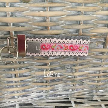 Schlüsselanhänger Schlüsselband Filz Paisley grau