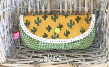 Brillenetui Kosmetiktäschchen Kaktus Kariert