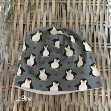 Babymütze Pinguin grau