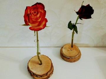 Vase Holzscheibe Reagenzglas
