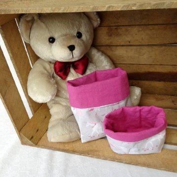 Utensilo 2er-Set,  aus reiner Baumwolle, idealer Begleiter für die Wickelkomode, rosa