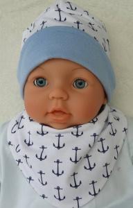 Babyset handgemacht bestehend aus Mütze und Halstuch aus weichem Jersey mit Ankerdruck genäht