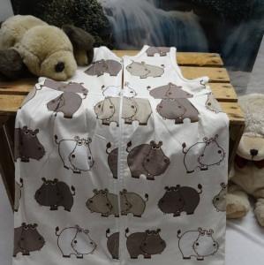 Herbst- und Winterschlafsack aus reiner Baumwolle mit Nilpferddruck gefüttert mit Sweatstoff, 80 cm lang, kaufen