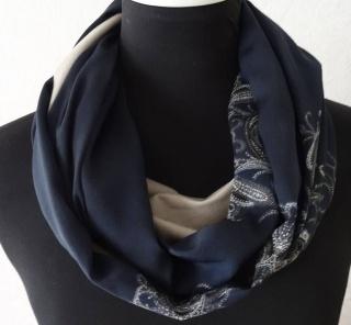 Schlauchschal, Loop handmade aus dunkelblauem Satinstoff und Baumwolljersey genäht