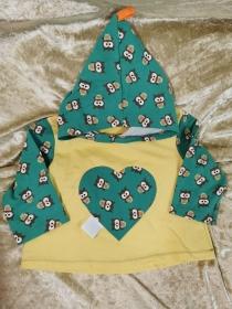 Langarmshirt mit Zipfelmütze ´Eulen` Gr. 74/80 - Handarbeit kaufen