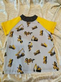 T-Shirt ´Baustellenfahrzeuge´ Gr. 98/104 - Handarbeit kaufen