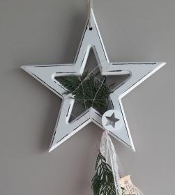 Fensterdeko Hängedeko Aufhänger Holzstern Advent Weihnachten