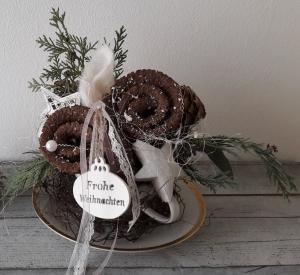 Adventsgesteck Adventsdeko weihnachtliche Suppentasse Adventszeit