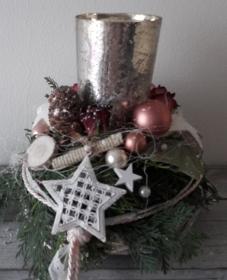 Tischdeko Tischgesteck zauberhaftes Adventswindlicht Glas