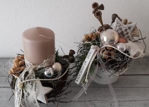 Tischdeko Tischgesteck weihnachtliche Zuckerdose kleines Adventsduo