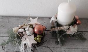 Tischdeko Tischgesteck weihnachtliche Backförmchen kleines Adventsduo