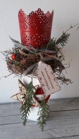 Tischdeko Tischgesteck Shabby traditionell weihnachtliches Adventslicht