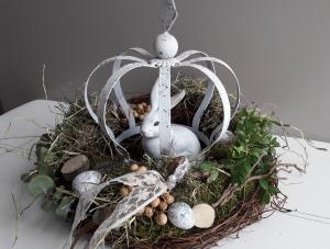 Tischdeko Tischkranz Kranz Osternest mit Hase und Naturmaterialien
