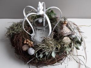 Tischdeko Tischkranz Tischgesteck Kranz mit Windlicht und Naturmaterialien