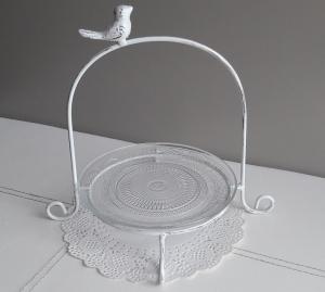 Tischdeko schöne Etagere Metall mit Vogel und Glasteller Shabby weiß