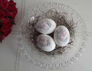 Ostereierdeko 3er Set Hühnereier Dekoeier Vintage Rose