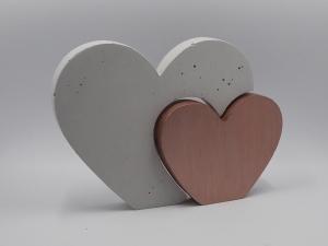 Herzen aus Beton 2er Set Herz in Herz Größe M farbig - Farbe auswählbar