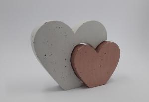 Herzen aus Beton 2er Set Herz in Herz Größe S farbig - Farbe auswählbar