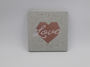 Betonbild Betonschild Herz Love rosé Wohndekoration