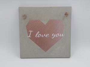Betonbild groß Betonschild Herz I love you rosé Wohndekoration