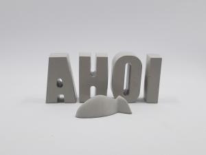 Schriftzug AHOI und Fisch aus Beton Betonbuchstaben Maritime Wohndekoration