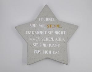Betonstern Geschenk an Freunde mit Spruch Freunde sind wie Sterne