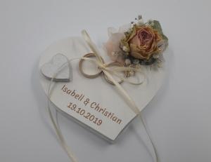 Reserviert für Christian Ringkissen kleines Holzherz Vintage-Look getrocknete Rosen,Blumen