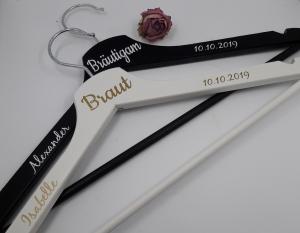 Personalisierte Kleiderbügel 2er Set Braut/Bräutigam Hochzeit Namen Hochzeitsdatum