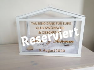 Aufkleber für Hochzeitspost Box und Bilderrahmen reserviert für Yasemin