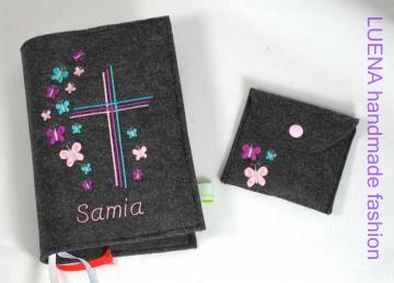 Gotteslobhülle Gotteslob Hülle Schmetterlinge Schmetterling Kreuz handgefertigt