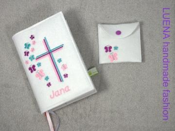 Gotteslobhülle Gotteslob Hülle Schmetterlinge Schmetterling Kreuz handgefertigt (Kopie id: 52623)
