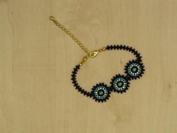 Armband Cleopatra aus 2,3mm Rocailles in gold, blau, türkis - Handarbeit kaufen