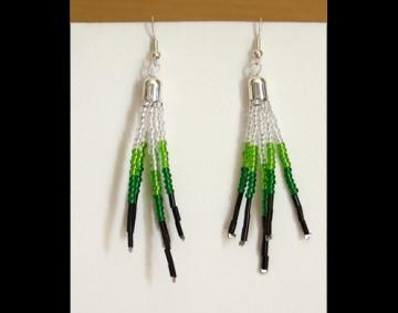 Ohrringe in Federnoptik - grün, silber, schwarz - Handarbeit kaufen