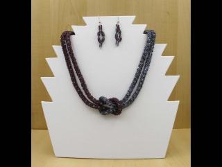 Häkelkette mit Kreuzknoten Set; Kette + Ohrringe - Handarbeit kaufen