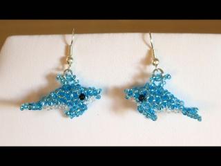 Delphin-Ohrringe aus Rocailles - Handarbeit kaufen