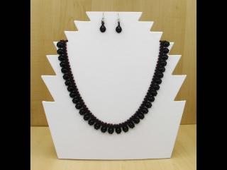 Tröpfchencollier Set lila-schwarz; Collier + Ohrringe - Handarbeit kaufen