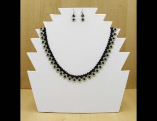 Tröpfchencollier Set weiß-schwarz; Collier + Ohrringe - Handarbeit kaufen