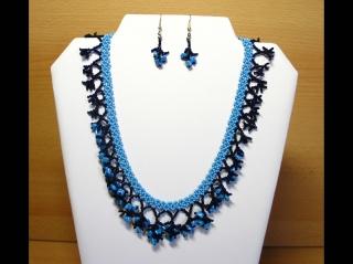 Korallencollier Set blau; Collier + Ohrringe  - Handarbeit kaufen