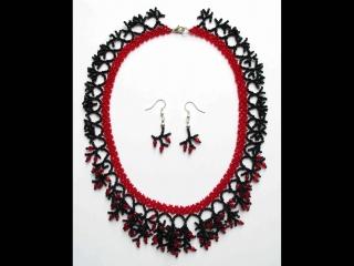 Korallencollier Set rot-schwarz; Collier + Ohrringe - Handarbeit kaufen