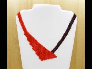 Perlen-Netz-Collier asymmetrisch; orange-braun - Handarbeit kaufen