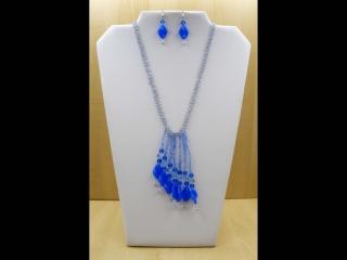 Schmuckset aus Glasperlen; Kette und Ohrringe, blau - Handarbeit kaufen