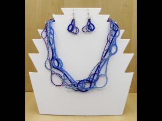 Schlingen Set aus Rocailles 2,6mm; Kette + Ohrringe; blau - Handarbeit kaufen