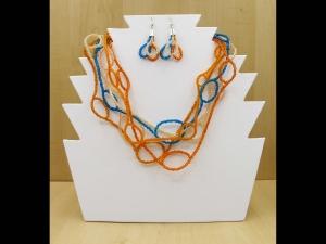 Schlingen Set aus Rocailles 2,6mm; Kette + Ohrringe; orange-türkis - Handarbeit kaufen