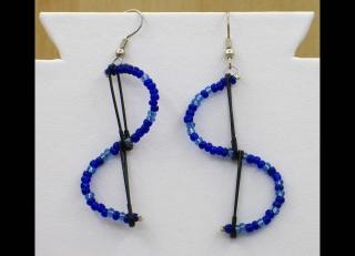 Ohrringe mit Sicherheitsnadeln in Wellenoptik, blau-schwarz - Handarbeit kaufen