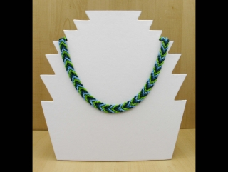 Kette in geflochtener Optik - grün, blau - Handarbeit kaufen