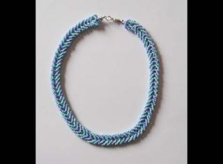 Kette in geflochtener Optik - lila, blau pastell - Handarbeit kaufen