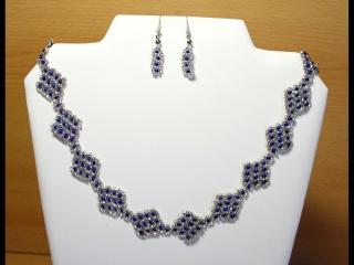 Schmuckset Rauten mit Tupfen; Collier+Ohrringe; silber-blau - Handarbeit kaufen